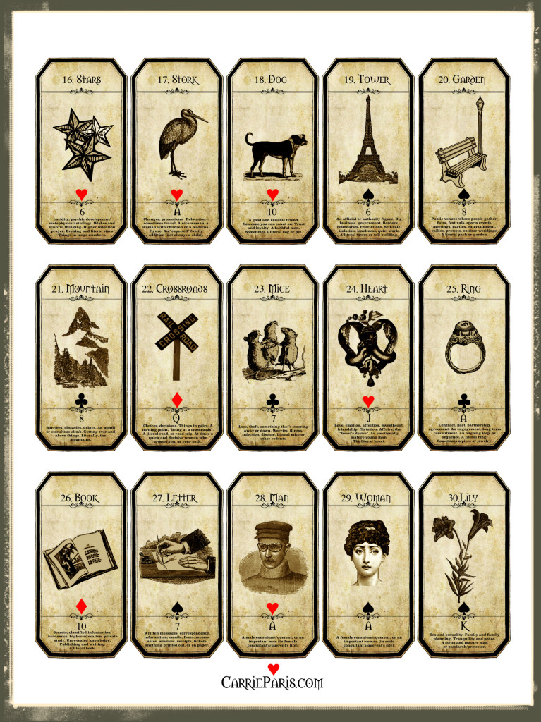 Lenormand Flashcards 16-30