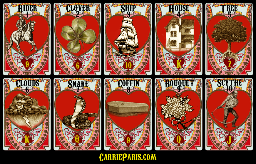 Free Valentine's DAY Lenormand cards 1-10