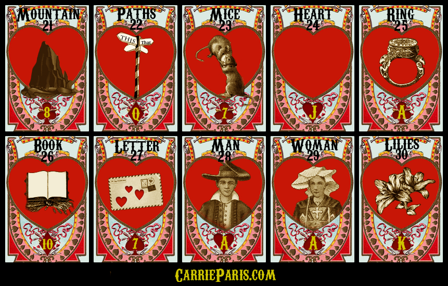 Free Valentine's DAY Lenormand cards 21-30