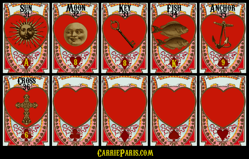 Free Valentine's DAY Lenormand cards 31-36
