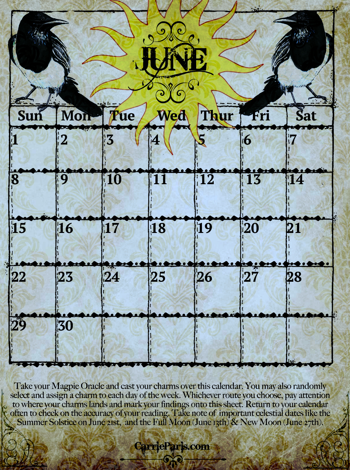 Magpie Oracle June 2014 Casting Calendar